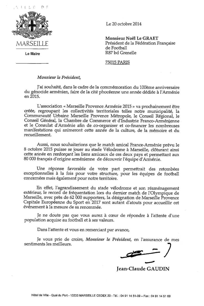 ... de Monsieur le Maire à la FFF   Marseille Provence Arménie 2015